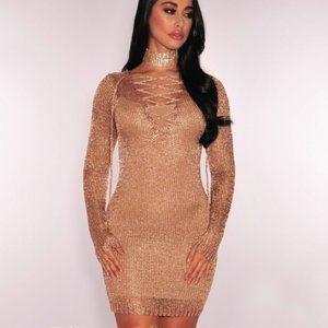 Rose Gold Metallic Sheer Net Lace Up Dress